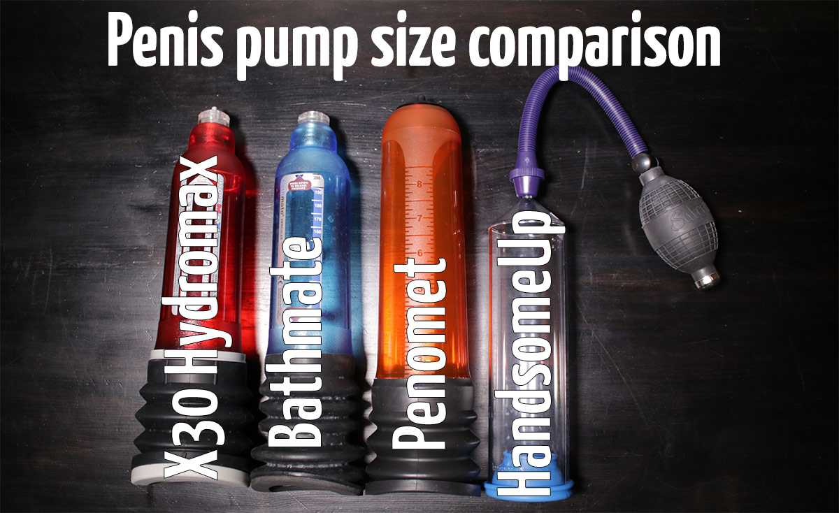 penis pump size comparison between X30 Hydromax, Bathmate, Penomet and HandsomeUp