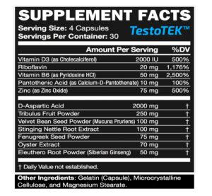 Testo-TEK ingredients
